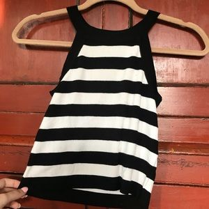 High Scoop Neck Tank Top: Black and White Striped